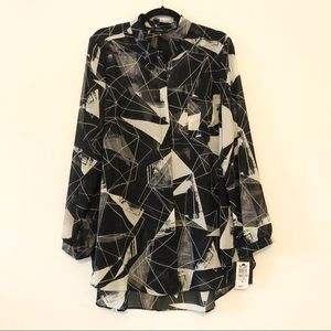 Alfani sheer long sleeve button down
